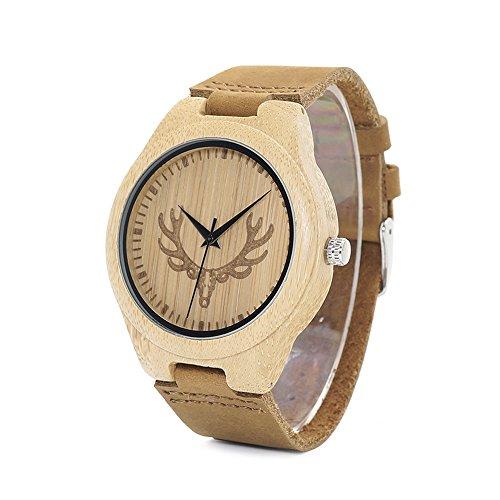 W001D Reloj de pulsera de bambú para hombre, reloj de cuarzo, correa de cuero, reloj de pulsera con esfera de ciervo