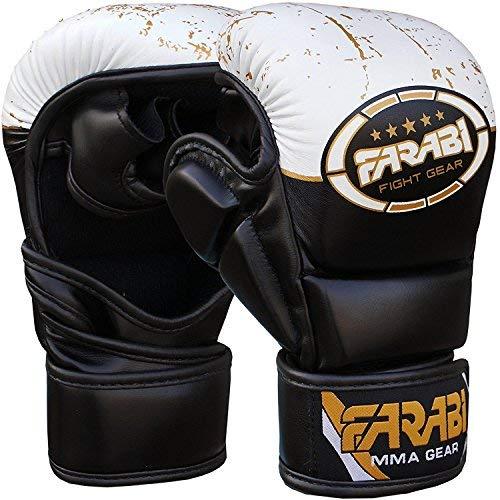 Farabi 198,4Gram Ibrido Semi PRO Guanti da Boxe Cage Fighting MMA punzonatura Boxe Sparring Sacco da Boxe Training Compitition Sparring (Nero/Bianco, L/XL)