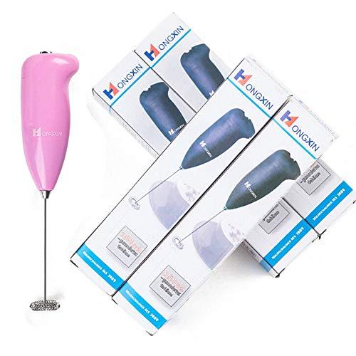 Handheld Elektrische Eggbeater Milchaufschäumer Foam Maker Durable Drink Kaffeemischer mit Edelstahl Schneebesen (Pink, L)