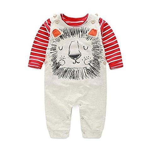 Saingace Bébés Garçons Automne Pantalons Ensembles Stripe T-shirt + Vêtements Pantalons Pour Bébés Bib (12M(6-12mois))