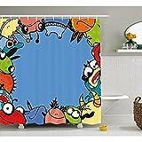 """S&H Gracioso por la cortina de la ducha, Monster alegres criaturas juntos vivero bebé Playroom pueril caracteres impresos, decoración de baño de tela con ganchos, Multicolor 72""""x72"""""""