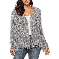 Damen Strickpullover,TWBB Quaste Einfarbig Pullover Pailletten Sweater Lange Ärmel Herbst Winter Oberteile Bluse