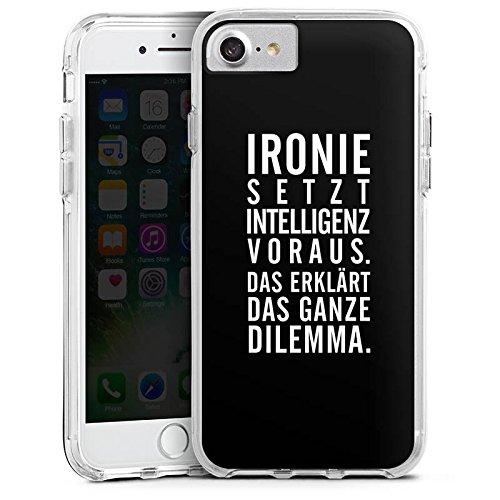 Apple iPhone 7 Bumper Hülle Bumper Case Glitzer Hülle Ironie Humor Intelligenz Bumper Case transparent