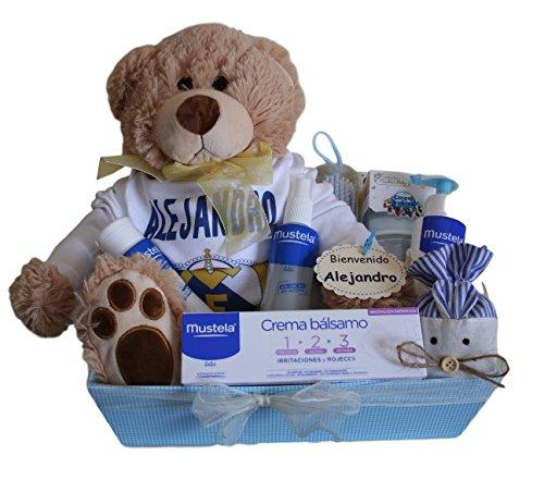Canastilla regalo para bebé Real Madrid Mustela, body personalizado R
