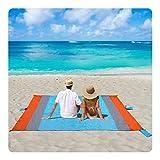 Stranddecke Sandfreie XXL 270x245cm Picknickdecke Campingdecke Strandtuch Wasserdichte Tragbar Tasche Decke mit 6 Tasche und 6 Zeltstöpse Schnell Trocknende für Picknick, Strand, Wandern und Camping