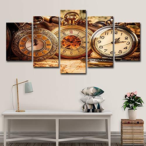 ZEMER 5 Panel Leinwanddrucke Wandkunst-Brown-Weinlese-Taschenuhr, Die Auf Alten Karten-Grafik-Bild-Gemälden Liegt Für Hauptwanddekor,B,20X30x2+20X40x2+20X50x1