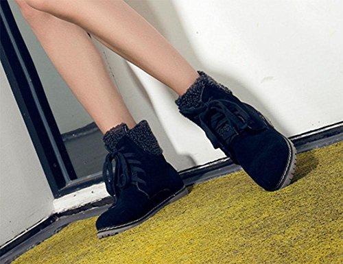 Meili Chaussures Pour Femmes, Bottes Pour Femmes, Bottes En Coton, Talon Bas, Fond Plat, Dentelle, Bottes, Étudiants, Grande Taille, Mode, Noir Sauvage / Coton