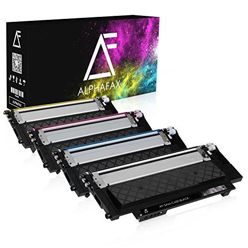 Color Refill-tinte (4 Toner für Samsung Xpress C430W/TEG C480W/TEG Farblaserdrucker - CLT-P404C/ELS - Schwarz 1500 Seiten, Color je 1000 Seiten)