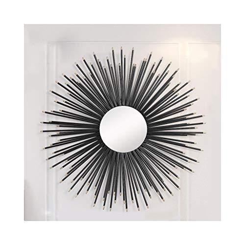 Spiegel Dekorativer Vintage runde Wand dekorative schwarz Sunburst Form Metall - Eingangshalle Bad Eingang - Nordic - schönes Licht und Eleganz.Innendekorationen (Size : 51.5×51.5cm) (Vintage Sunburst Spiegel)