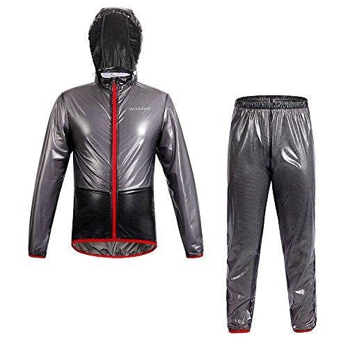 Selighting Damen Herren Wasserdicht Regenanzug (Jacke und Hose) Winddicht Regenbekleidung für Fahrrad Schwarz