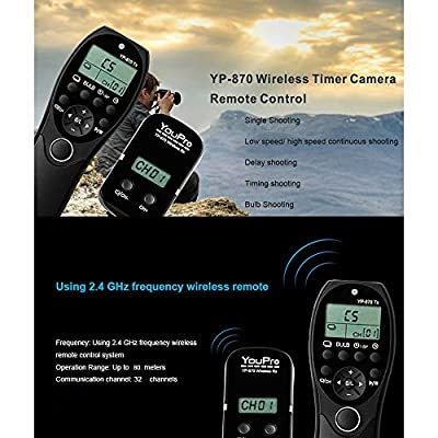 Andoer YouPro YP-870 Wireless Remote Control for Canon 600D 650D 700D 760D 750D 70D 7D2 60D 1100D 1200D 500D 450D Rebel T2i T3i T4i T5i for Pentax Samsung Contax DSLR Camera