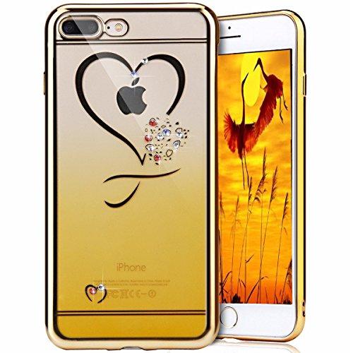 iPhone 7 Plus Clear Coque,iPhone 7 Plus Case Anti chock Dual Layer Plastic Liquide Coque Bling Flash Etui Case Cover pour iPhone 7 Plus 5.5 Pouce,iPhone 7 Plus Transparente Coque,iPhone 7 Plus Bling D Hearts TPU 1