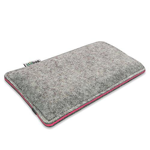 Stilbag Handyhülle FINN für Apple iPhone 7 | Smartphone-Tasche aus Filz | Handy Schutzhülle | Handytasche Made in Germany | Farbe: anthrazit/rot hellgrau/lachs