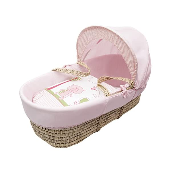 Beary Nice Pink Moses Basket Dressings only(Basket Elegant Baby Dressings For Moses Baskets Includes Padding,Quilt, Liner,Fabric Hood Basket and Mattress and Hood bars are NOT included 1