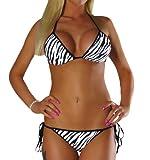 ALZORA Neckholder Damen Bikini Set Top und Hose Zebra, F905 (M)