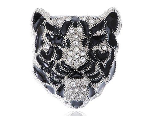 Alilang schlanke weiße Rhinestone Crystal Black Panther Tiger Leopard Kitty Cat Krieger Kopf Nadel Brosche (Leopard Kitty)