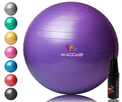 Wacces Yoga Ball mit Handpumpe (lila, 55cm)