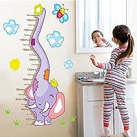 UniqueBella Pegatinas de Pared Vinilo Infantil Decorativo Adhesivo Decoración para Hogar Habitación de Niños Medidor Medir Altura Animales Elefante Púrpura