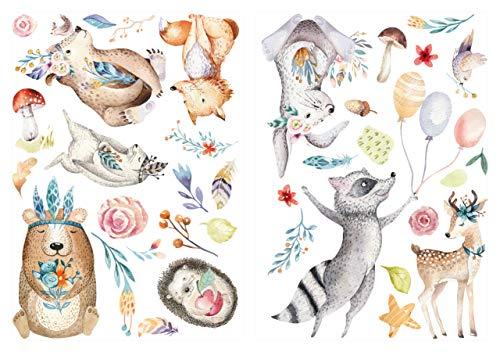 Wandtattoo Kinderzimmer Deko Aquarell Wandtattoo Waldtiere auf Wiese mit Ballon