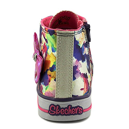 Skechers S Lights-Shuffles-Artsy Up Textile Turnschuhe Wht/Ht PNK/prpl