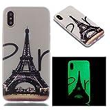 AllDo Hülle für iPhone X/XS, Leuchtende Silikon Handyhülle Leuchtet im Dunkeln, Lichtdurchlässigen Gummi Schale Glatte Leichtgewicht Etui Gedruckte Muster Design Hülle - Eiffelturm