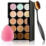 Anself - Set de Paleta de Corrector de Maquillaje 15 Colores + Cepillo Óvalo Cosmético + Esponja para la Belleza