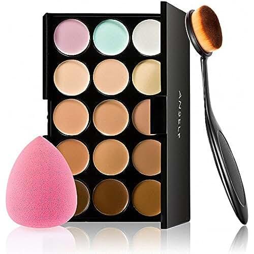 dia de la madre kawaii Anself - Set de Paleta de Corrector de Maquillaje 15 Colores + Cepillo Óvalo Cosmético + Esponja para la Belleza
