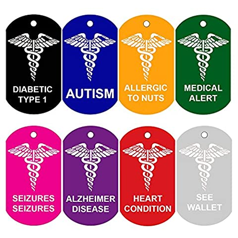 Dog Tags Pet Tags Engraved Aluminum GI Military Medical Alert ID DIABETIC TYPE 1 by Cnattags (Silver Color)