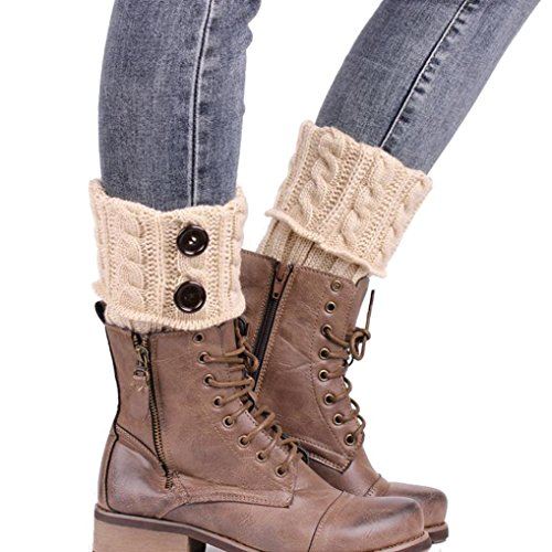 Sannysis Stricken Stiefel Socken Beinlinge Boot-Abdeckung Keep Warm Socks (beige)