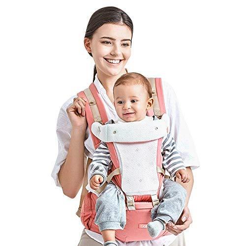 GBlife Mochila Portabebé Ergonómico Multifuncional 4 en 1 Fular Porta Bebé con Múltiples Posiciones Suave Ajustable para Niños, Rosa