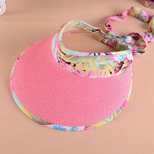 nsxbzz *Strand Cap Visor leer Top hat Frau Sommer Sonne Hüte faltbarer Hut Sommer Code ist Rosa