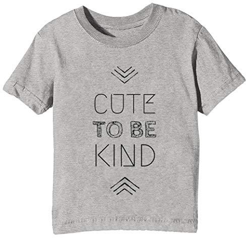 Cute To Be Kind Niños Unisexo Niño Niña Camiseta Cuello Redondo Gris Manga Corta Tamaño M Kids Boys Girls Grey Medium Size M