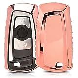 kwmobile Hülle für BMW 3-Tasten Funk Autoschlüssel (Nur Keyless Go) - TPU Schlüssel Schutzhülle in Hochglanz Rosegold - Etui Schlüsselhülle Cover Auto Zündschlüssel