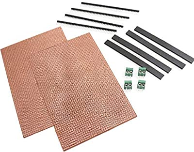 Component General Purpose Printed Circuit Board,2 Pieces + Female Berg Strip,4 Pieces+ Male Berg Strip, 4 Pieces,with 4 Pieces wire connector
