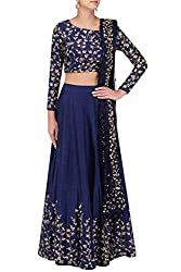 Fabron Blue Embroidered Semi Stitched Lehenga Choli Material With Matching Net Dupatta