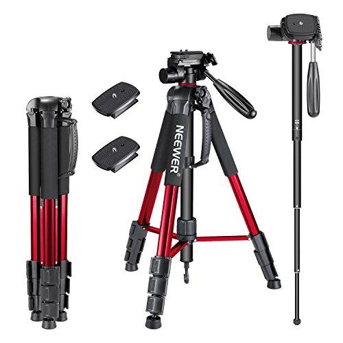 Neewer 177cm Aluminium Kamera Stativ Einbeinstativ mit 3-Wege Kugelkopf, 2 stück Schnellwechselplatte, Tasche für DSLR Kamera, DV Video Camcorder, Belastbarkeit bis zu 4kg Rot (SAB264)