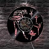 Knncch 1 Stück Ballett Tanzen Silhouette LED Hintergrundbeleuchtung Moderne Sport Vinyl Uhr Hause Dekorative Rekorduhr Geschenk Für Tänzerin