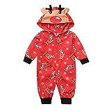 Riou Weihnachten Set Baby Kleidung Hooded Pullover Pyjama Outfits Set Familie Frohe Weihnachts kostüme Santa Junge Mädchen Overall Familien Pyjamas Set Schlafanzug (90, Baby A)