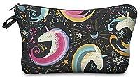 Kukubird Girls Printed Make Up Bag Wash Bag Toiletry Cosmetics Wallet Pencil Pen Holder Organiser Pouch Case - Unicorn Doodle Black