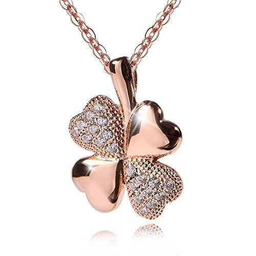 MATERIA–Colgante plata de ley 925circonita oro rosado Amuleto de la suerte + Caja # KA de 309