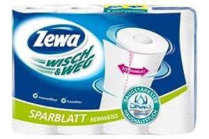 Zewa Wisch und Weg Haushaltstücher Reinweiss Sparblatt, 3er Pack (3 x 4 Rollen)