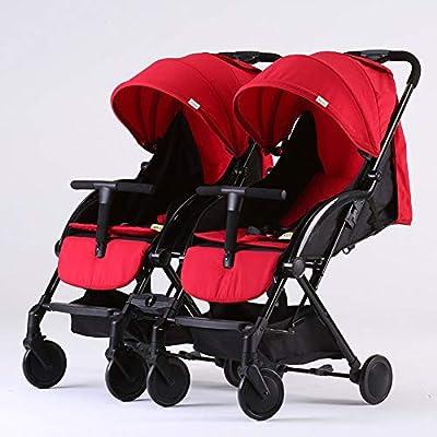 Double Strollers Cochecito Gemelos Plegable Sillas De Paseo Gemelar DúO Twin Desde 0-3 años de Edad(Negro/Rojo