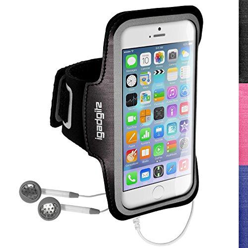 'igadgitz u3044rutschfeste Sportarmband für Apple iPhone 64.72014ideal für Laufen, Fitnessstudio–Schwarz (Iphone 6 Armband, Mit Tasche)