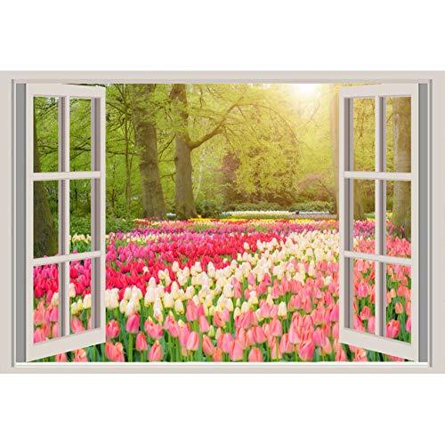 YongFoto 2,2x1,5m Vinile fondali fotografici Vista della finestra Paesaggio del giardino di fiori Alberi Fiori di tulipani Sfondo foto Studio fotografico nozze Fondale foto Accessori carta da parati