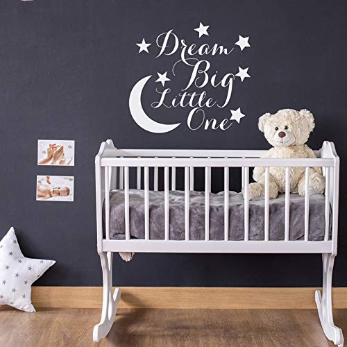 jiuyaomai Mond Starswall Decal Zitat Dream Big Little One Kinder Kinderzimmer Wandtattoos Kinderzimmer DIY Muster Kunst Wandaufkleber 42x45cm