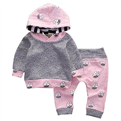 Spitzen Hosen Kleidung Neugeborenes Tops + Hosen Outfits Set Kleinkind Baumwolle Jungen Mädchen Overall Oberbekleidung Blumenkleidung (3-18Monat) LMMVP (Grau, 90CM (12M)) (Baseball Kostüm 12 Monate)