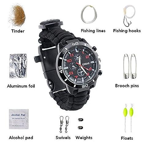 ZENDY 16 IN 1 Paracord corde avec montre bracelet et firestarter, sifflet, boussole, kit de pêche, kit de survie, multifonctions extérieur outils de survie (16 Fonction en 1, 9 Types intérieur corde bracelet) (Sport noir)