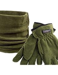 Fladen Thinsulate guantes Verde Ajustable de forro polar cuello para niños & Fingered para adulto a juego–Talla única [22–005]