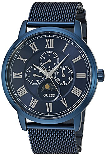 GUESS Men's U0871G3 Dressy Stainless Steel Watch with Multi-function Dial and Mesh Deployment Buckle