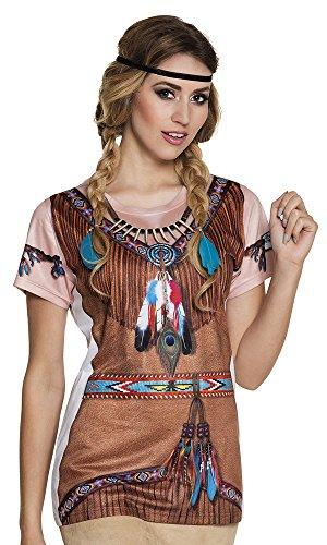 Indian Apache Kostüm - Prezer Indianerin T-Shirt Fotorealistisch